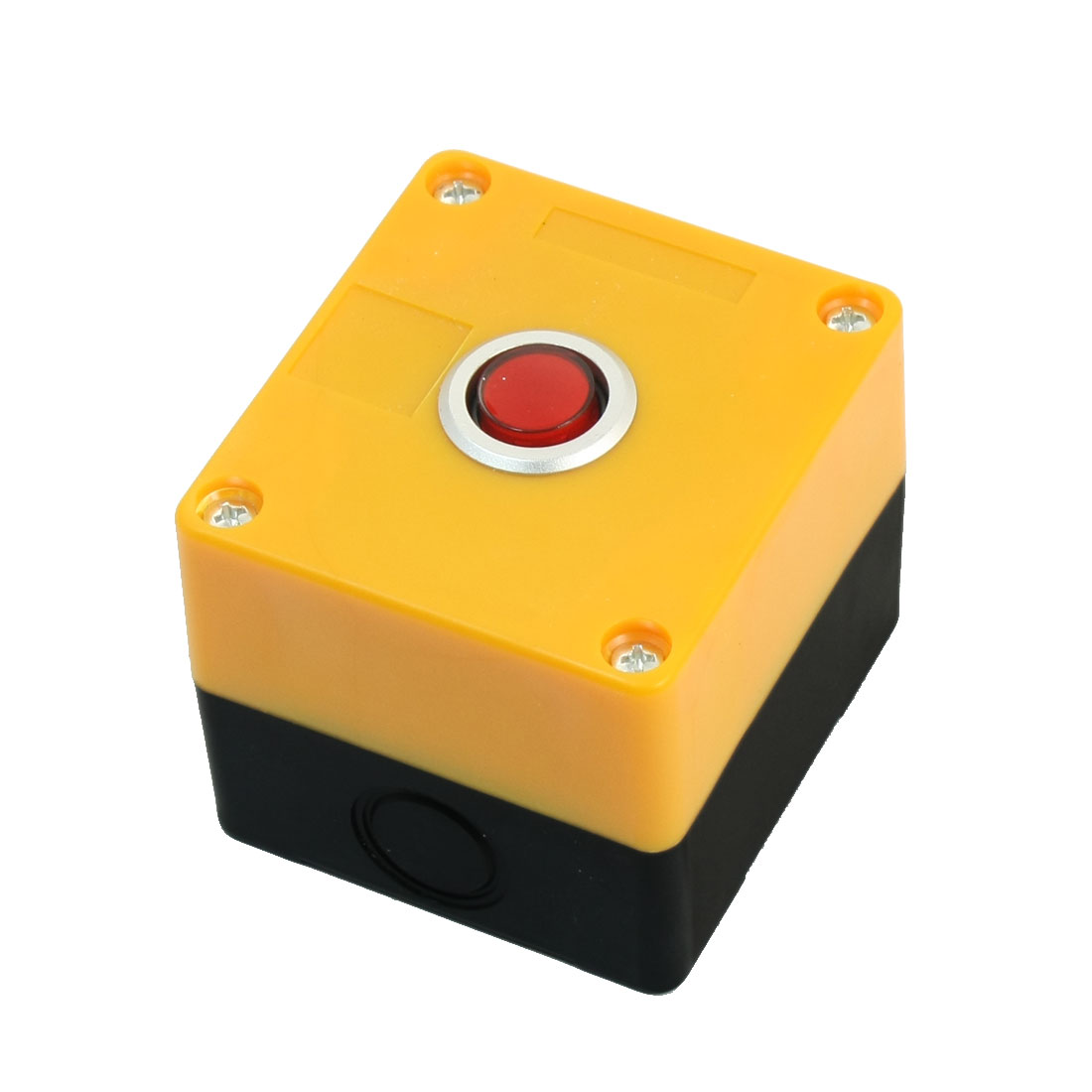 AC 220V 5A Red Pilot Lamp SPDT 1NO 1NC 5Pin Latching Round Button Pushbutton Station Switch Control Protector Box