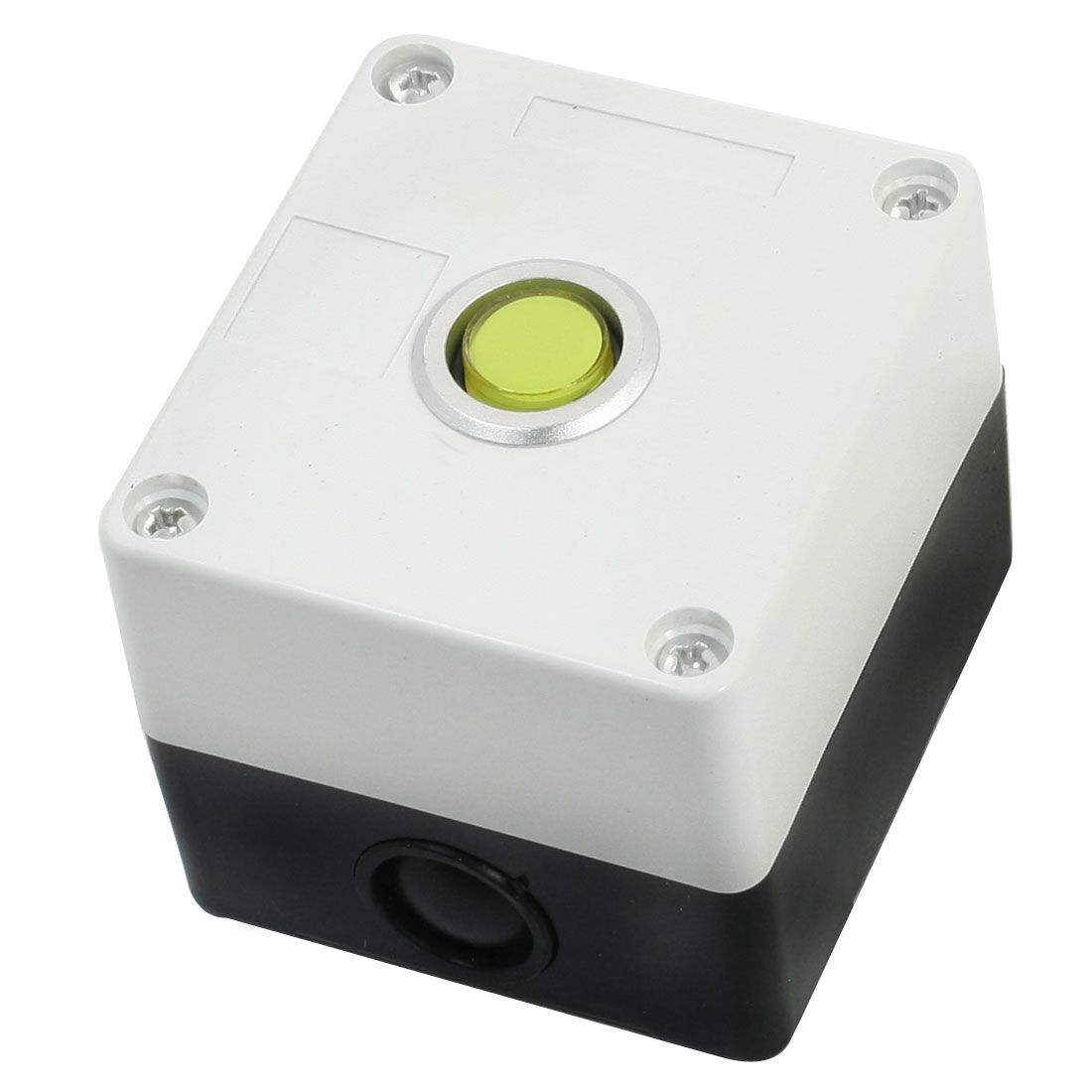 AC 220V 5A SPDT 1NO 1NC 5-Pin Momentary Action Yellow Pilot Lamp White Plastic Case Push Button Station Switch Control Guard Box