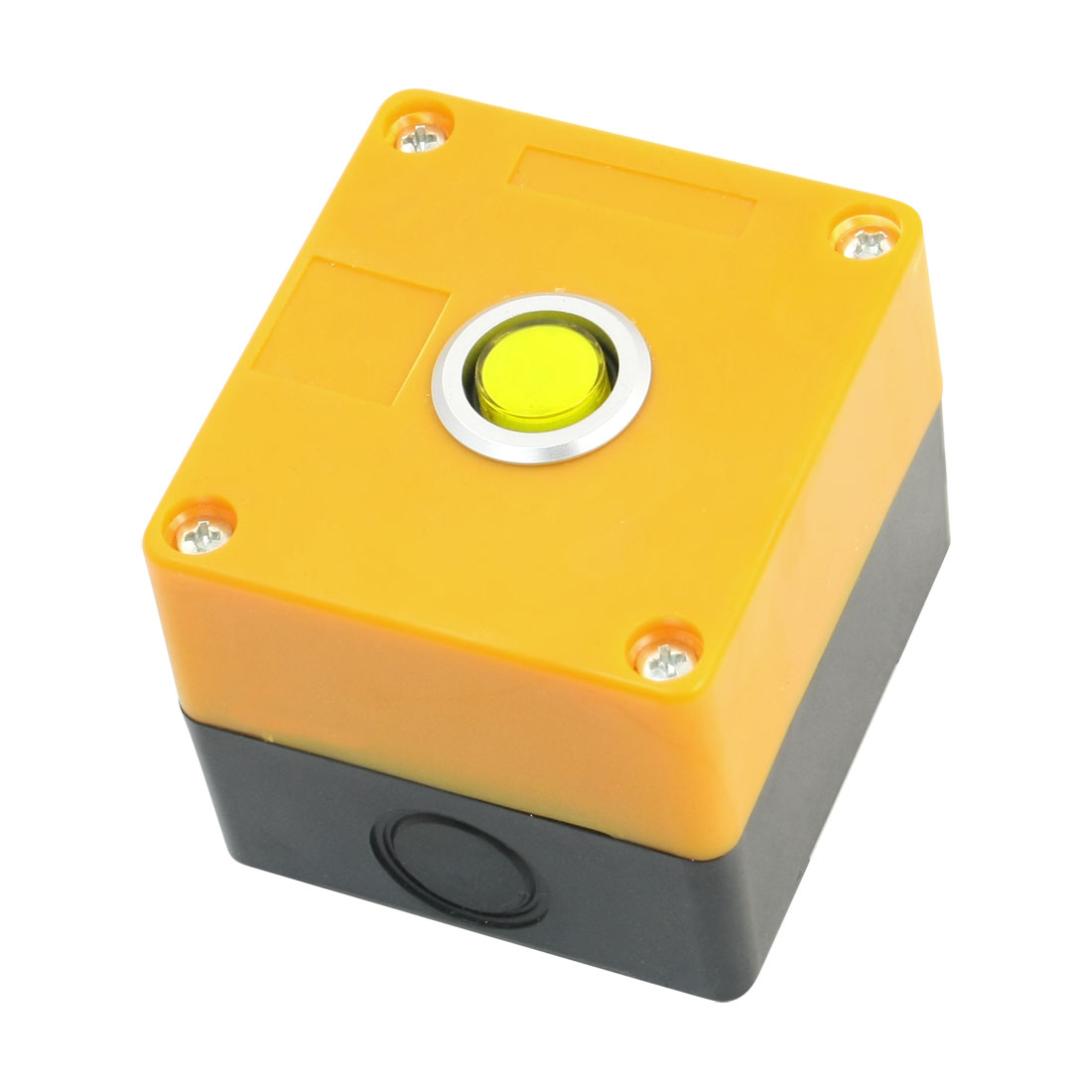 24V 15mm Dia Button Rectangle Plastic Case Yellow Signal Indicator Light Pilot Lamp Blub Box