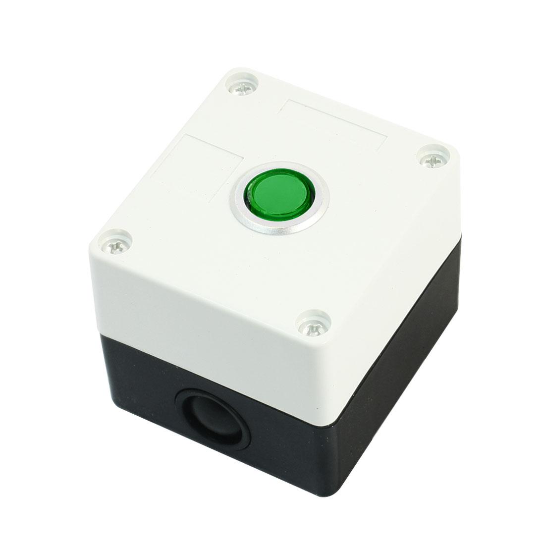 Green Head AC 250 Volt 5A SPDT 3 Terminals Momentary Single Hole Pushbutton Push Button Rectangle Plastic Control Station Box