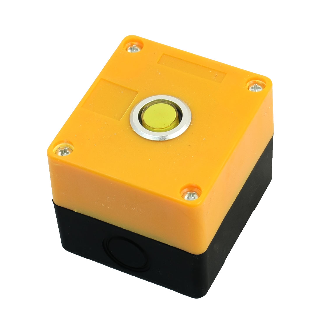 AC220V 5A Yellow Pilot Lamp SPDT 1NO 1NC 5Pin Latching Round Button Rectangle Plastic Pushbutton Station Switch Control Box Guard