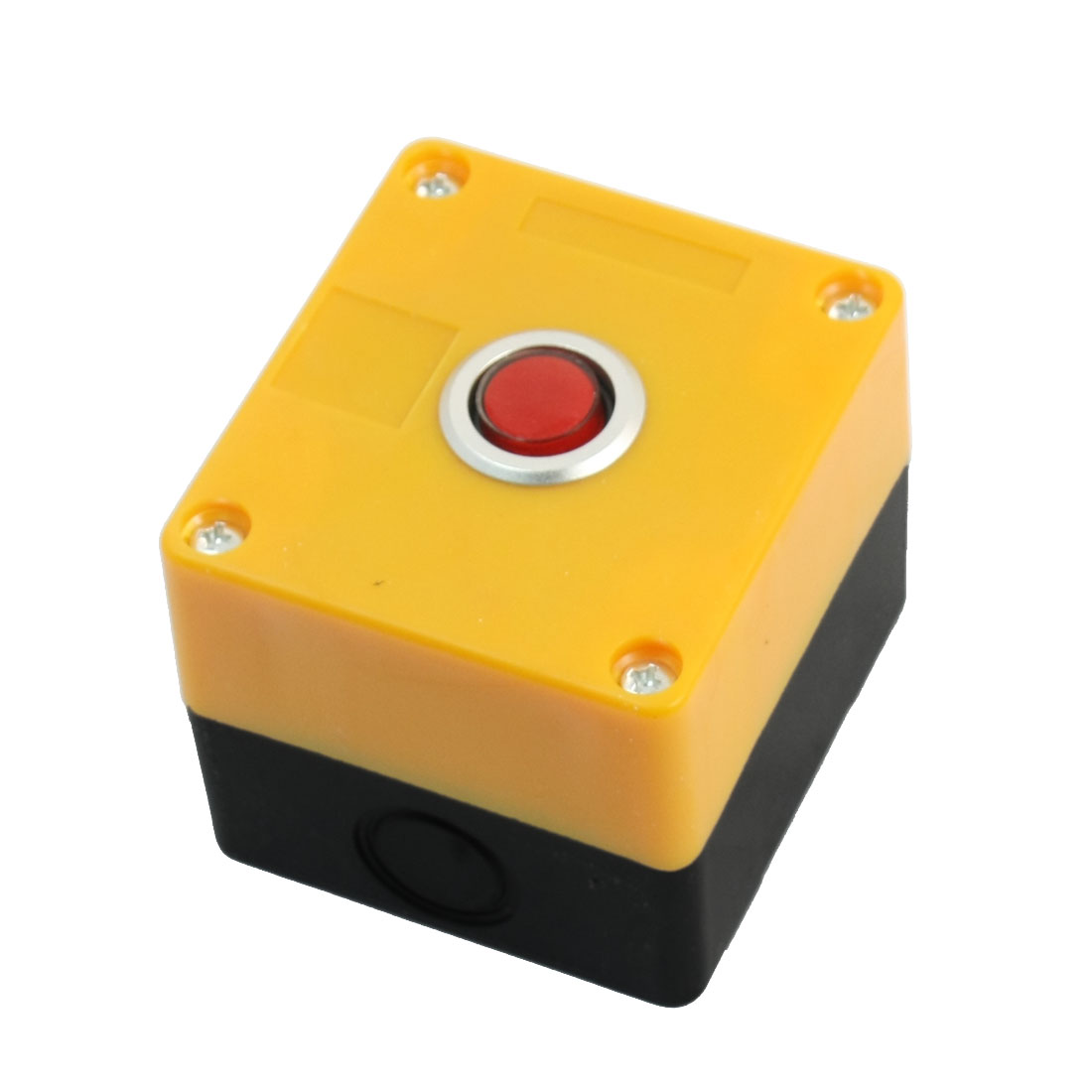 Red Head AC 250 Volt 5A SPDT 3 Terminals Momentary Single Hole Pushbutton Push Button Rectangle Plastic Control Station Box