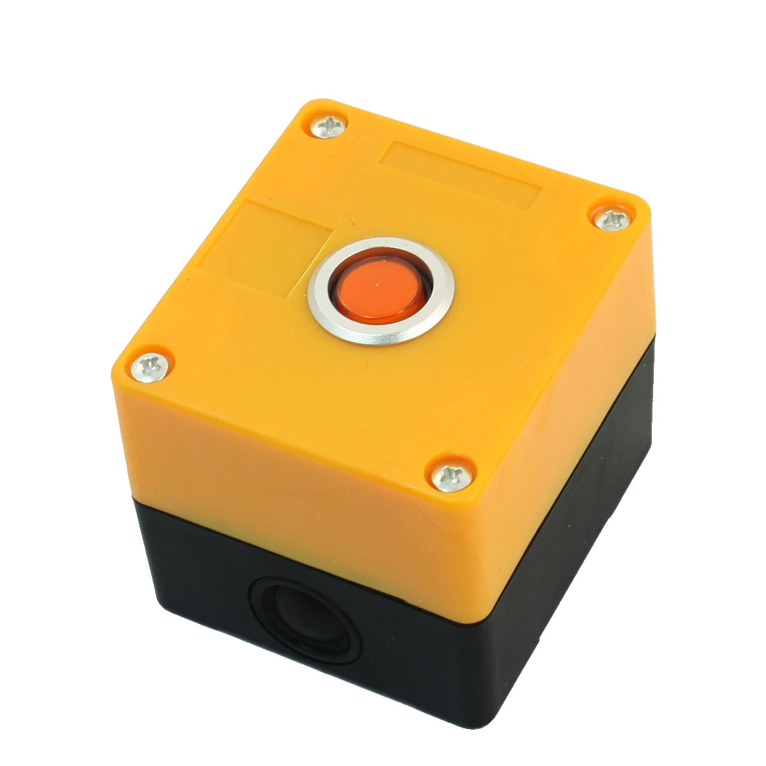 AC 220V 5A SPDT 3Pin 1NO 1NC Self-Locking Orange Button Rectangle Yellow Plastic Case Push Button Station Switch Control Box