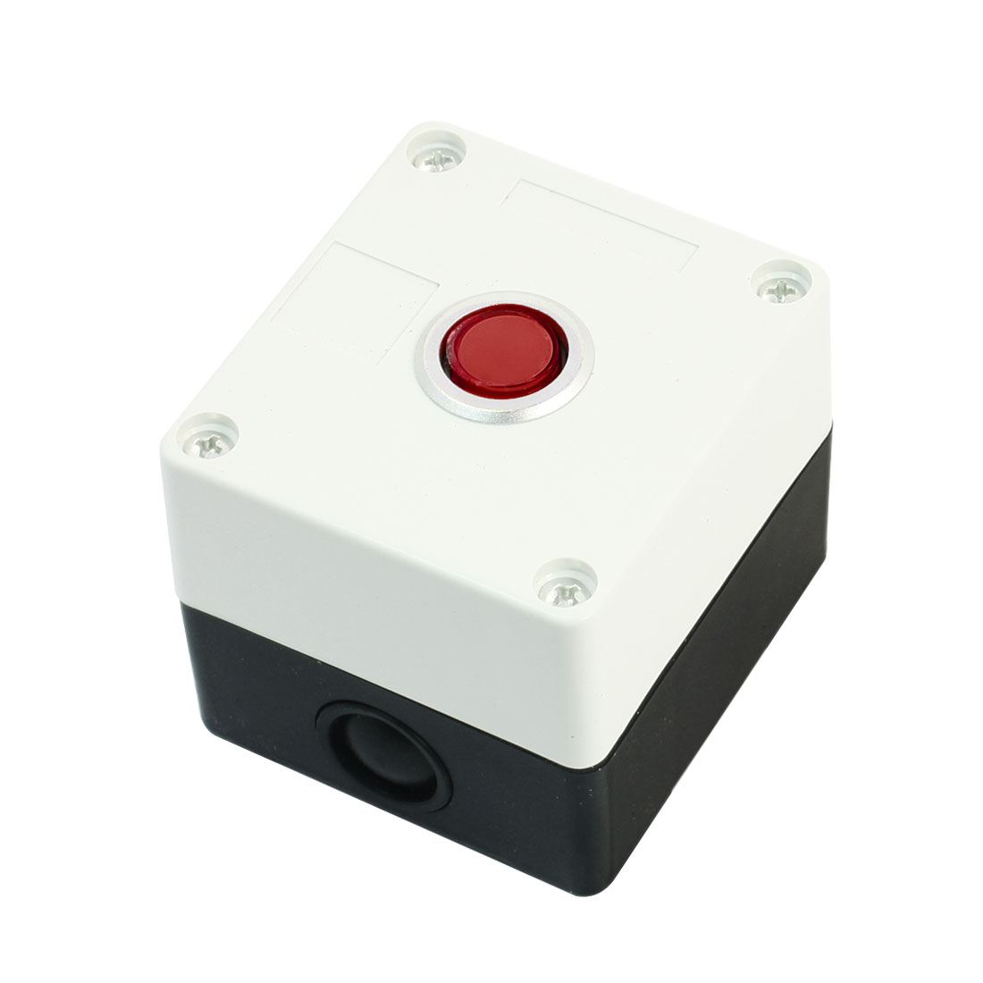 AC220V 5A Red Pilot Lamp SPDT 1NO 1NC 5-Pin Locking Round Button Rectangle Plastic Push Button Station Switch Control Box