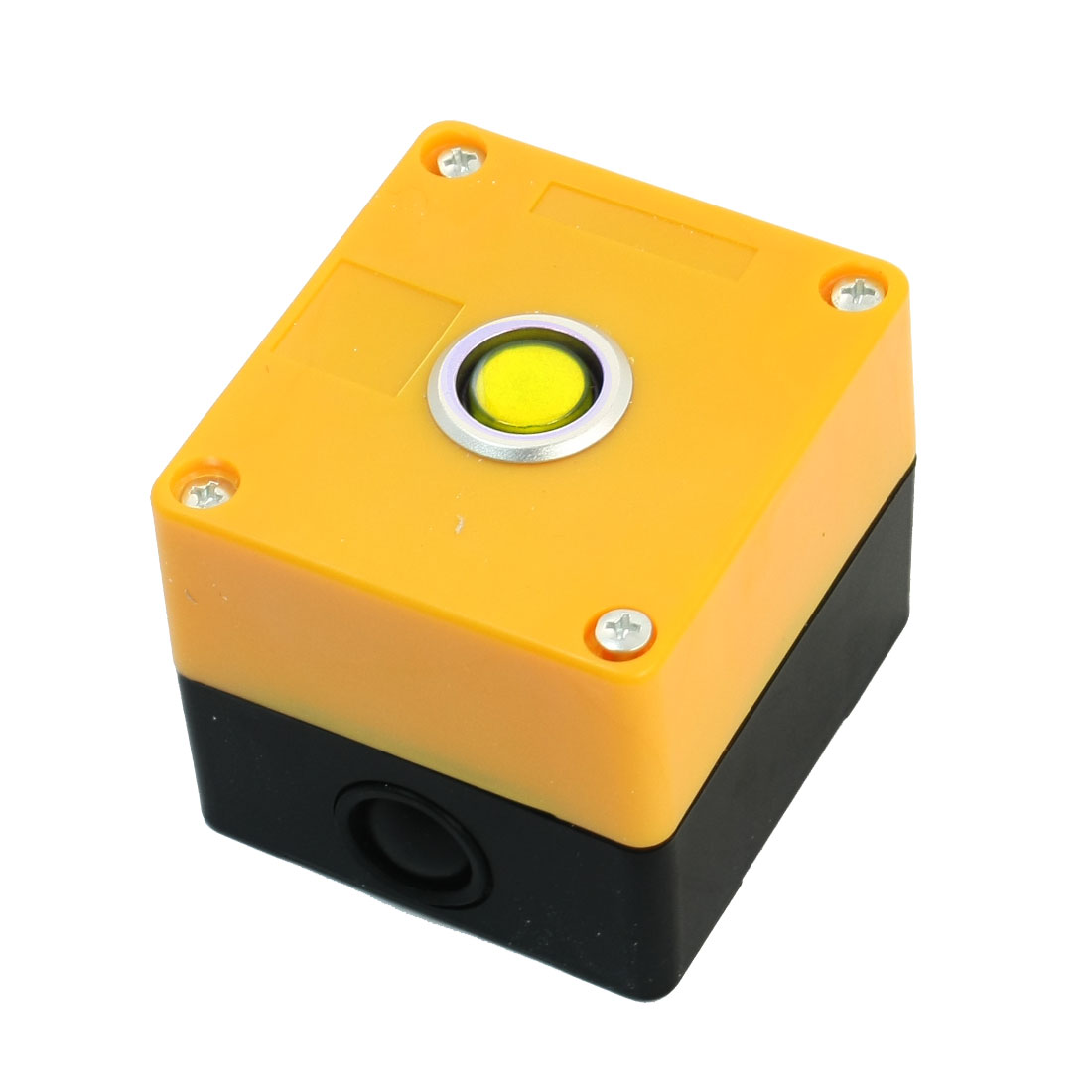 AC220V 5A SPDT 3Pin 1NO 1NC Momentary Yellow Button Rectangle Plastic Pushbutton Station Switch Control Box