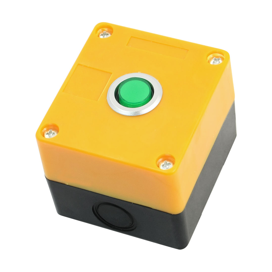 SPDT 5-Pin 1NO 1NC Momentary Green Pilot Lamp Rectangle Yellow Plastic Case Push Button Control Station Box AC220V 5A