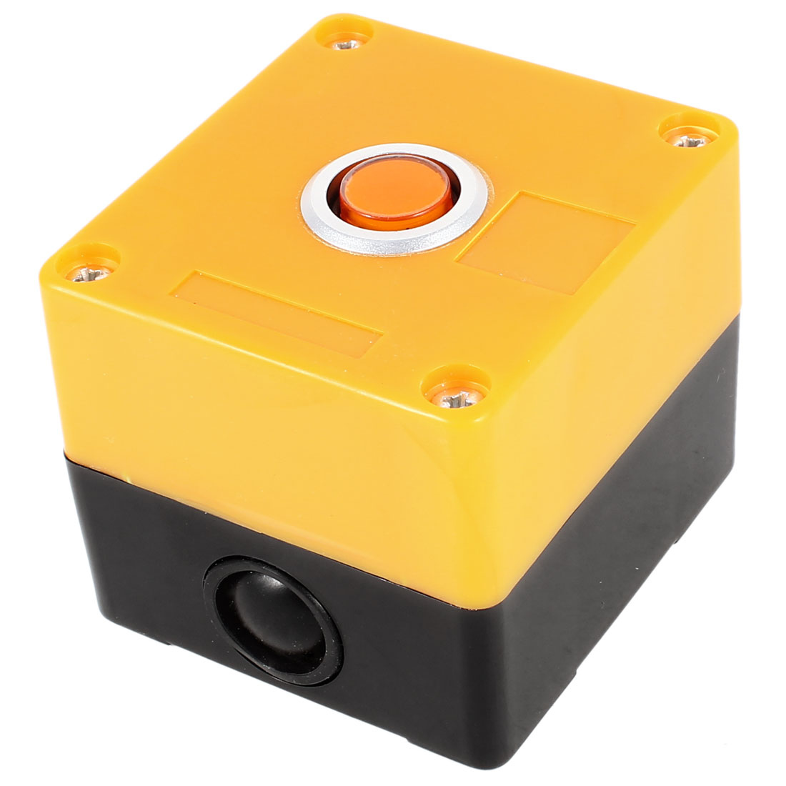 AC 220V 5A SPDT 1 NO 1 NC 3 Pin Soldering Momentary Type Orange Button Plastic Pushbutton Control Station Box Black Yellow