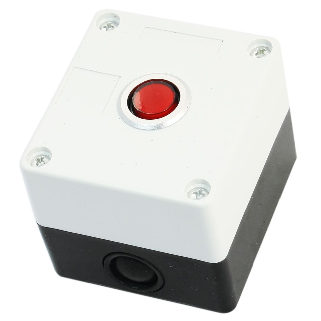AC220V 5A SPDT 3-Pin 1NO 1NC Momentary Action Red Button Rectangle Plastic Pushbutton Station Switch Control Box