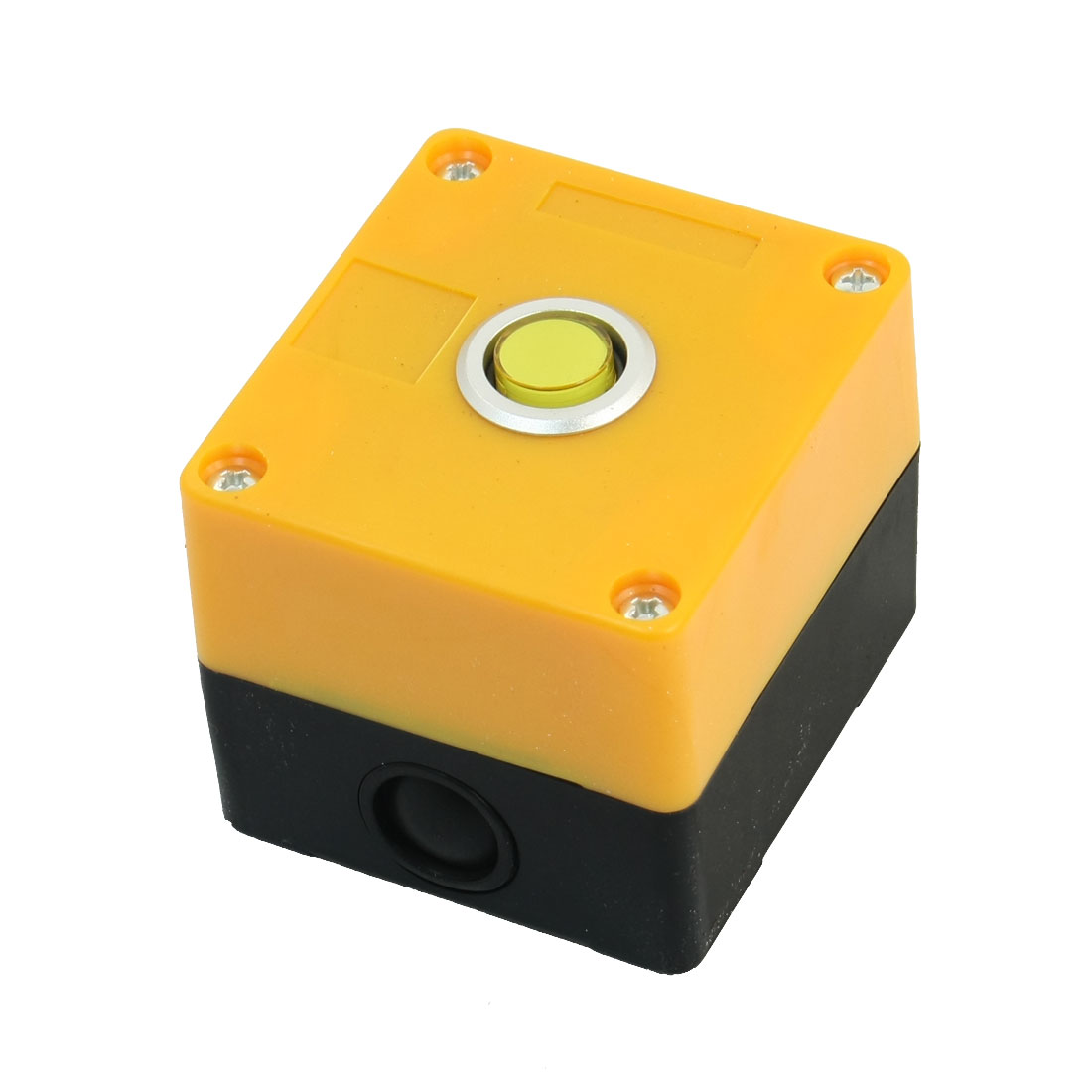 AC220V 5A SPDT 1NO 1NC Self-Locking Yellow Light Rectangle Plastic Case Push Button Station Switch Control Box