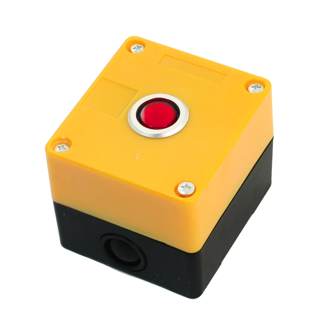 AC 220V 5A SPDT 5-Pin 1NO 1NC Momentary Red Pilot Lamp Rectangle Yellow Plastic Push Button Station Switch Control Box