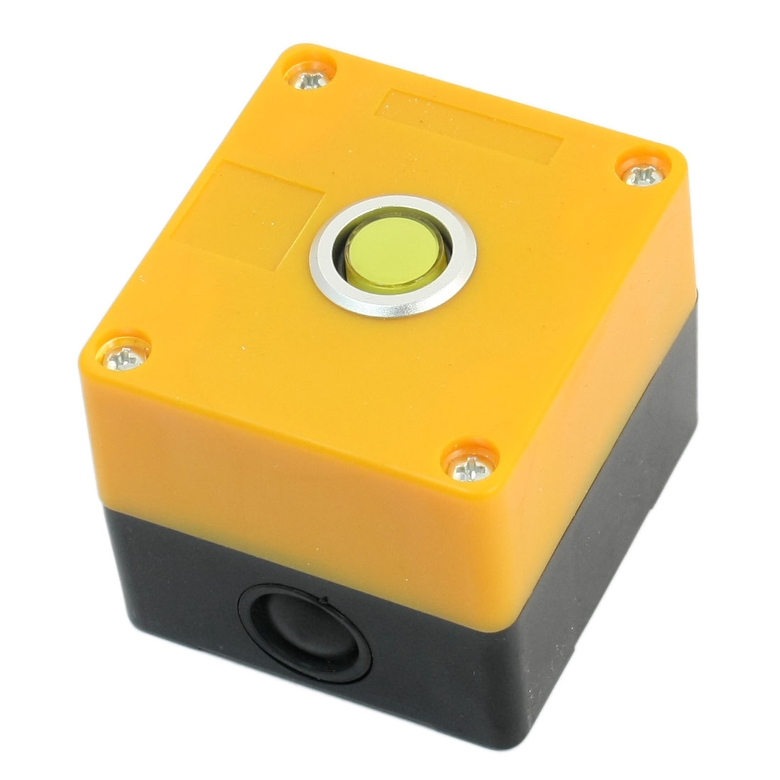 12V 15mm Dia Round Cap Rectangle Plastic Case Yellow Signal Indicator Light Pilot Lamp Control Station Box