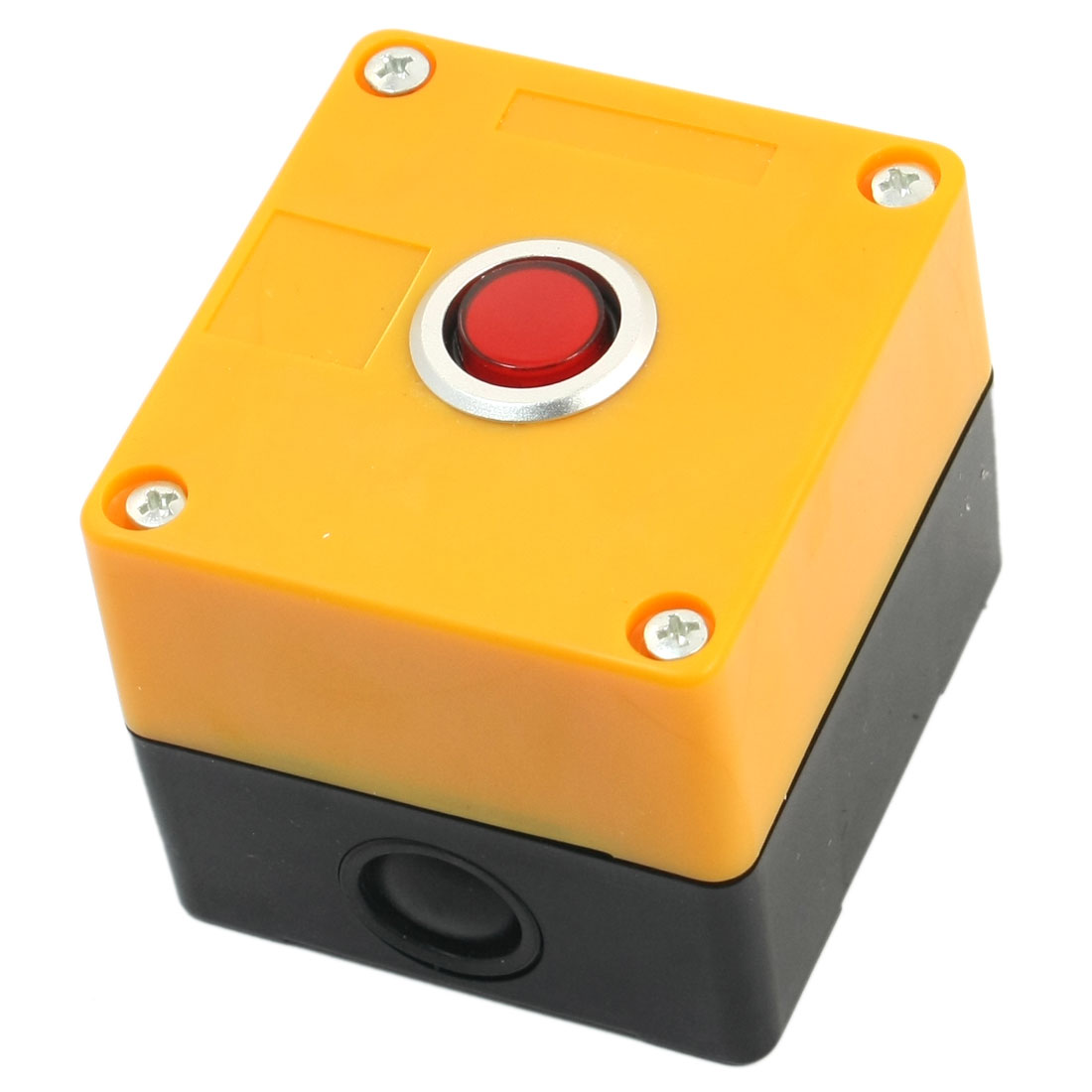220V 15mm Rectangle Yellow Plastic Case Red Accident Signal Indicator Light Pilot Lamp Control Station Box