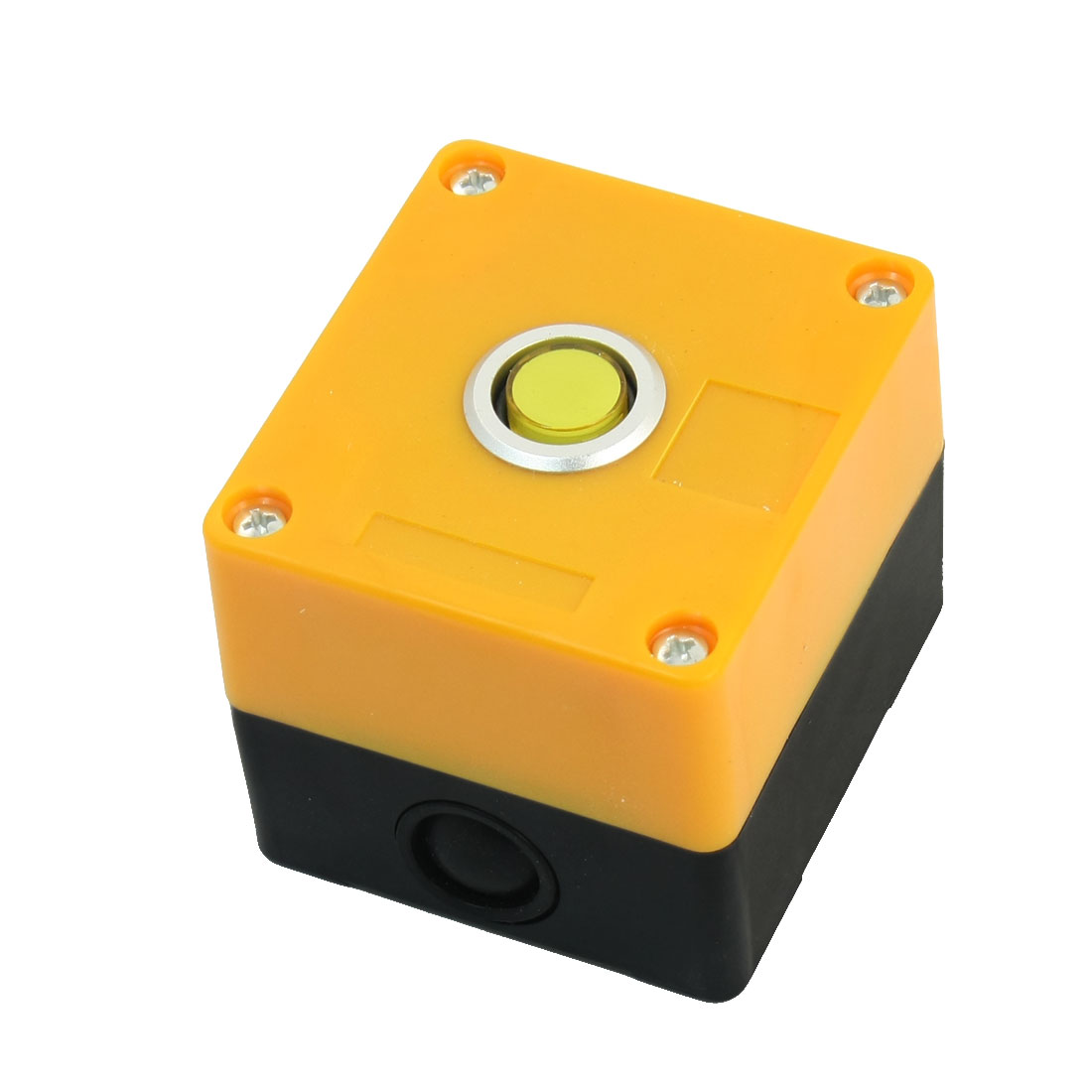 220V 15mm Dia Round Button Rectangle Plastic Case Yellow Signal Indicator Light Pilot Lamp Bulb Protector Box