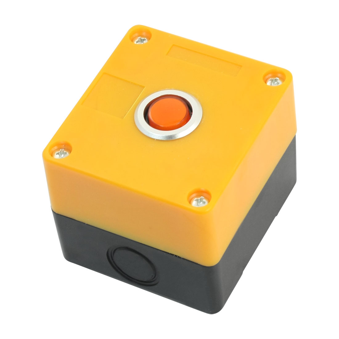 AC220V 5A Orange Light SPDT 1NO 1NC 5Pin Momentary Action Rectangle Plastic Push Button Station Switch Control Box Protector