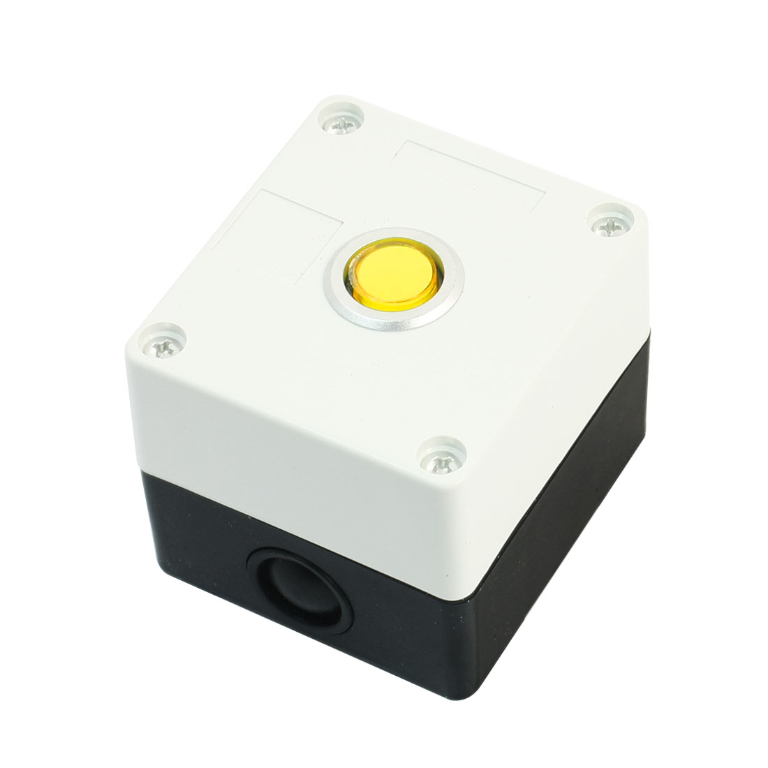 AC 220V 5A SPDT 5-Pin 1NO 1NC Latching White Plastic Case Yellow Pilot Lamp Push Button Station Switch Control Box