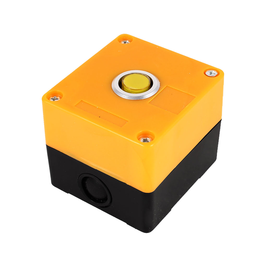 AC 220V Yellow Light Lmap SPDT 1 NO 1 NC 5 Pin Soldering Momentary Action Push Button Station Box