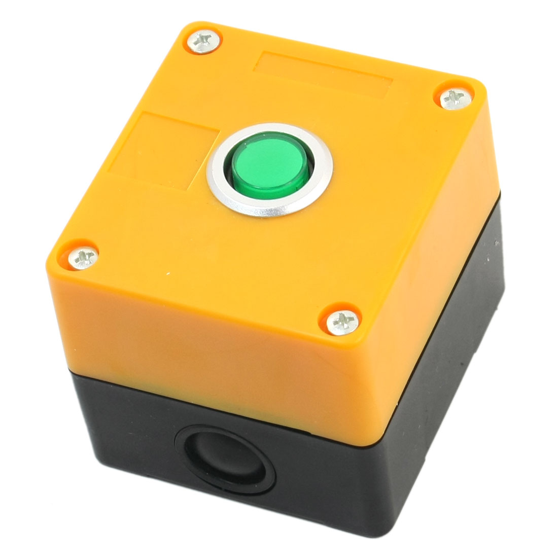 AC220V 5A SPDT 3-Pin 1NO 1NC Momentary Action Green Button Rectangle Yellow Plastic Pushbutton Control Station Switch Control Box