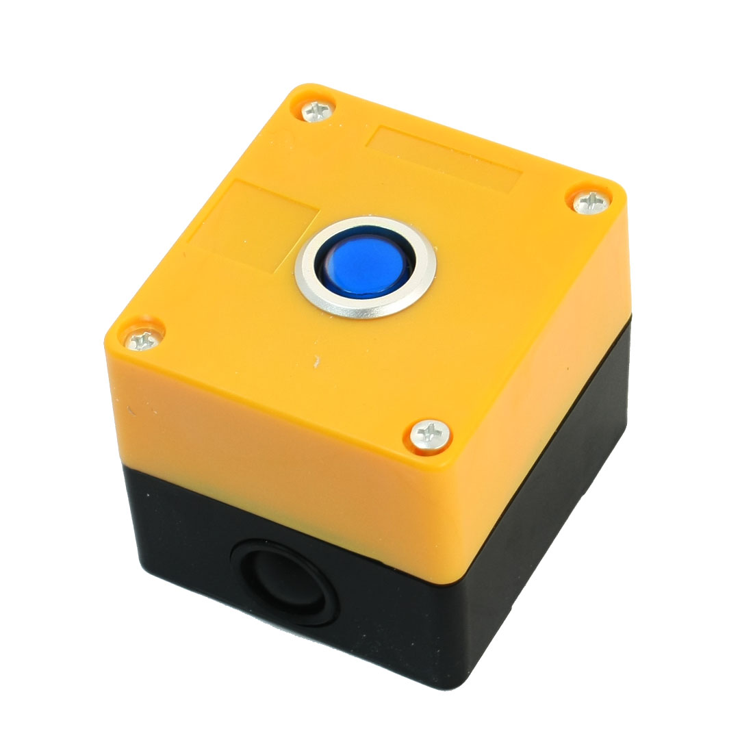 AC 220V 5A SPDT 5Pin 1NO 1NC Latching Blue Pilot Lamp Yellow Plastic Case Push Button Station Swicth Control Box