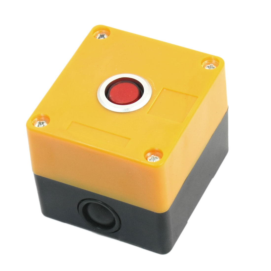 24V 15mm Dia Round Button 2 Terminals Rectangle Plastic Case Red Accident Signal Indicator Light Pilot Lamp Blub Box