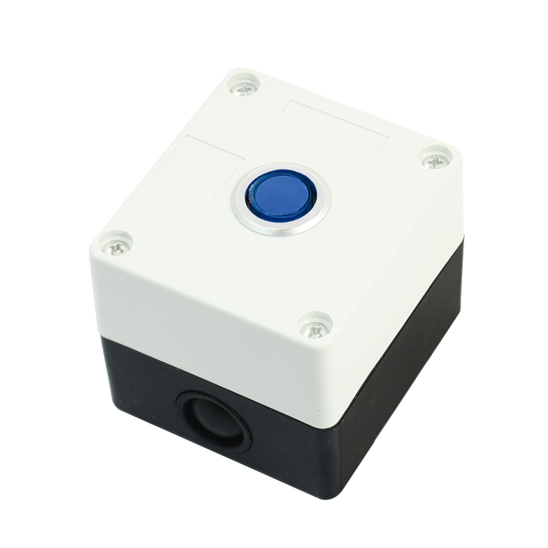 Blue Pilot Lamp SPDT 1NO 1NC 5Pin Locking Rectangle Plastic Push Button Station Switch Control Box AC220V 5A