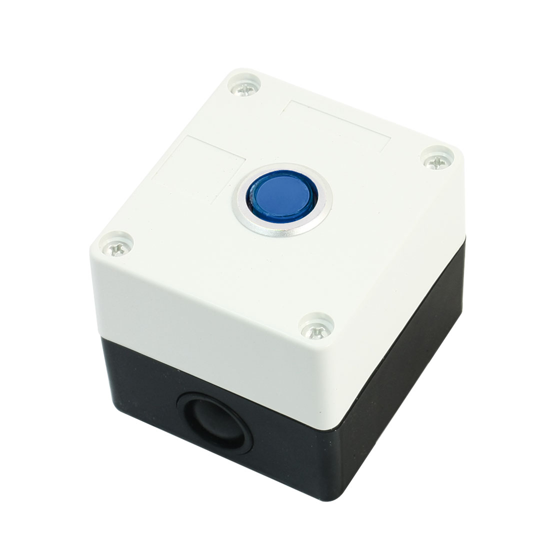AC 220V Blue Light SPDT 1 NO 1 NC 5 Pin Soldering Momentary Type Push Button Control Station Box