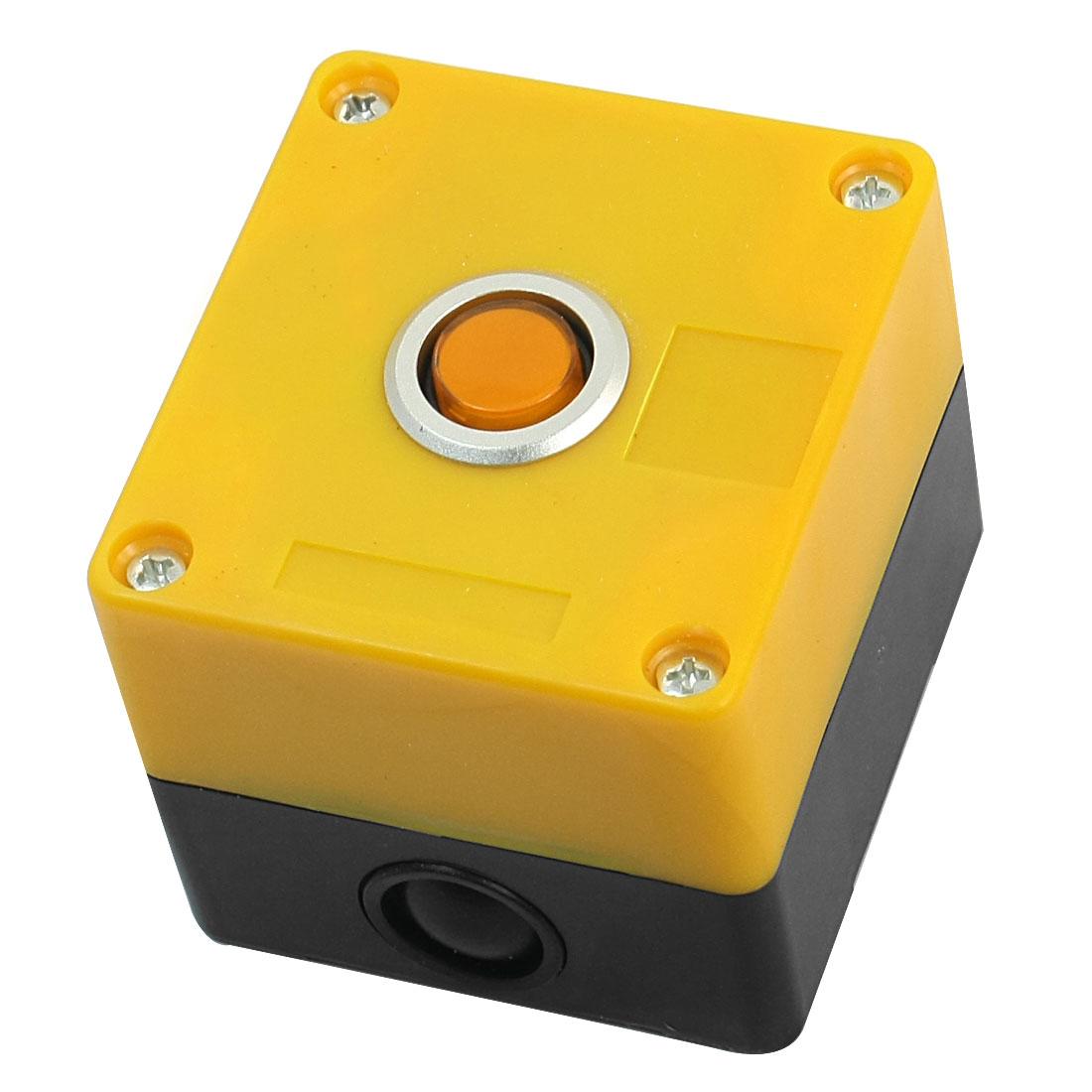 220V 15mm Dia Round Button Rectangle Plastic Case Orange Signal Indicator Light Pilot Lamp Blub w Yellow Box