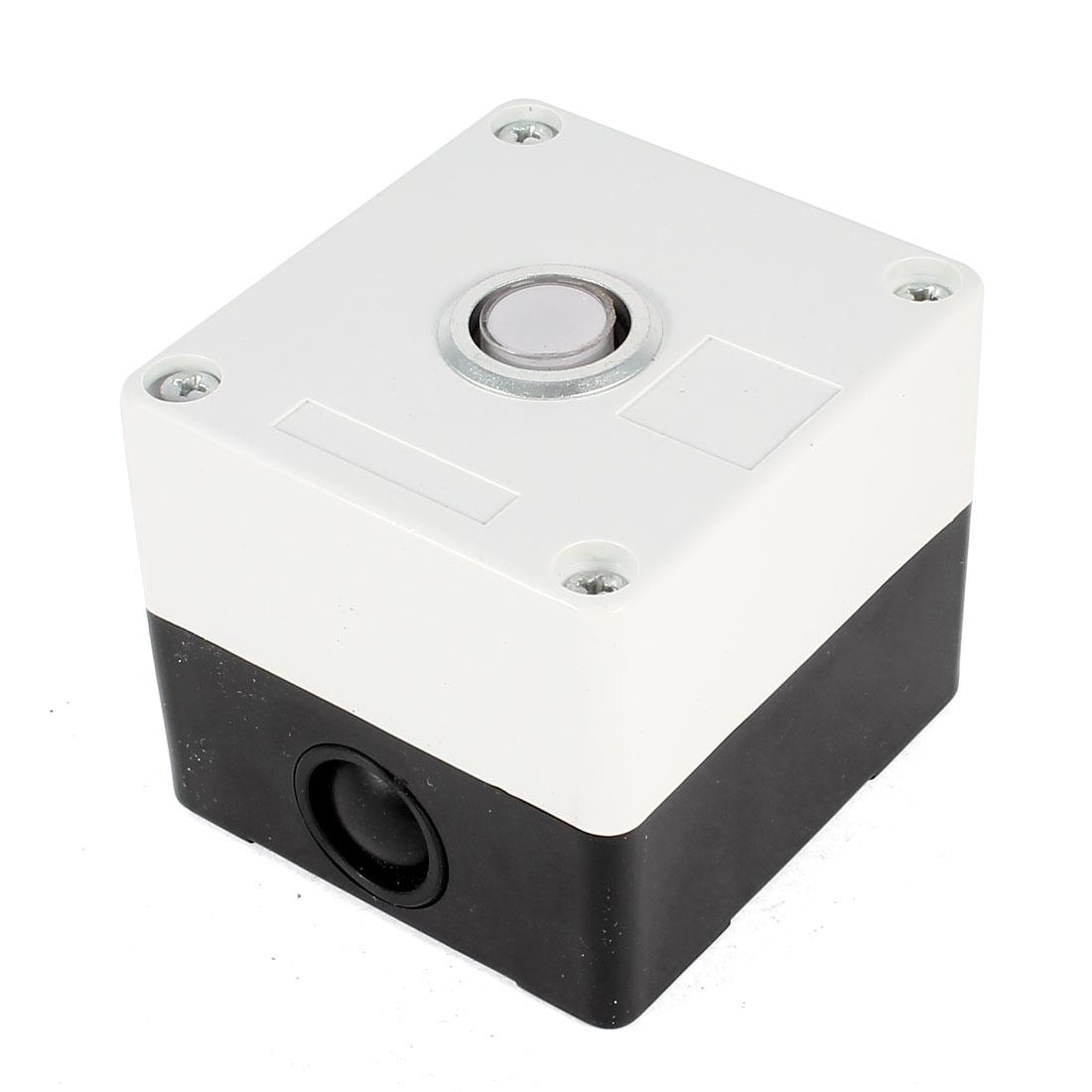 DC 24V 78mm x 72mm x 64mm Plastic Warm White Signal Indicator Light Lamp Bulb Box Black White