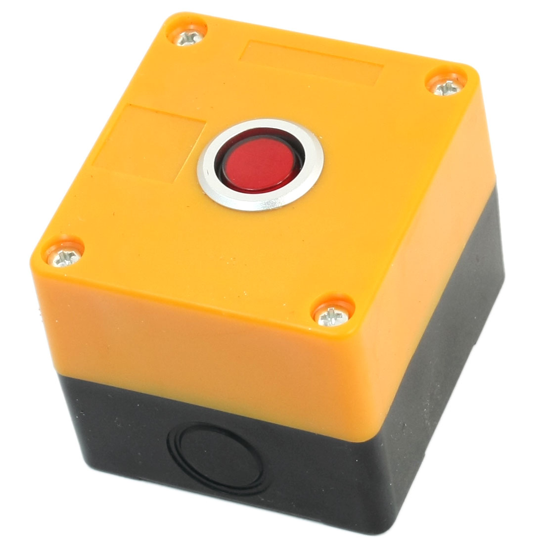 AC 220V 5A Red Lamp SPDT 1NO 1NC 5Pin Latching Rectangle Plastic Case Push Button Station Switch Box