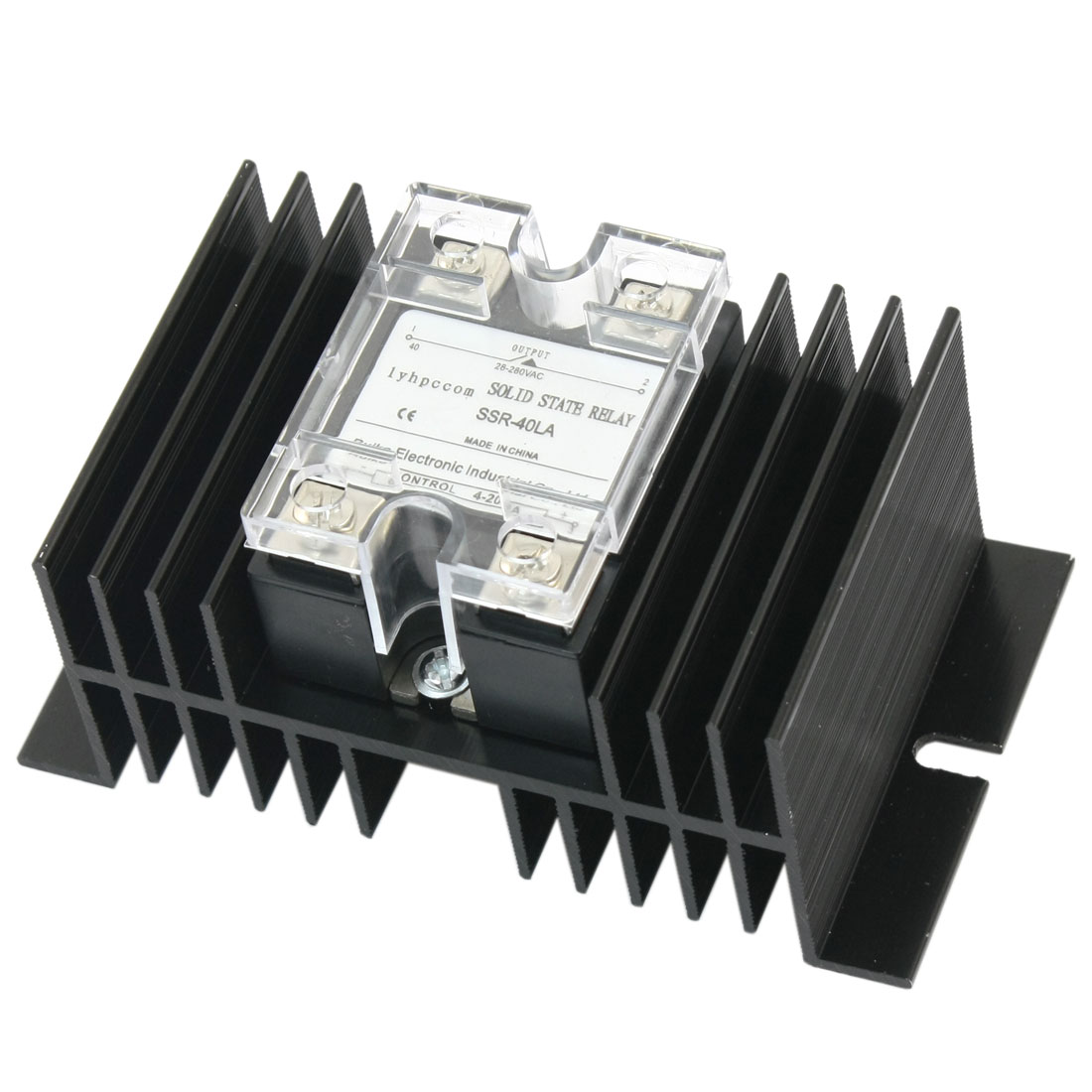 SSR-40LA 4-20mA Input AC28-280V 40A Output 4 Screw Terminal Single Phase Solid State Relay w Aluminum Heatsink