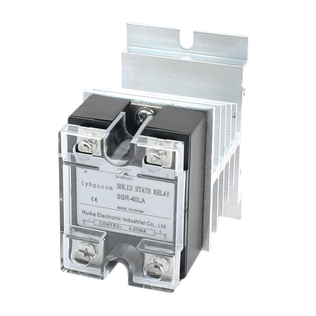 4-20mA to AC28-280V 40A 4 Screw Terminal Single Phase Aluminum Heatsink Clear Cover SSR Solid State Relay