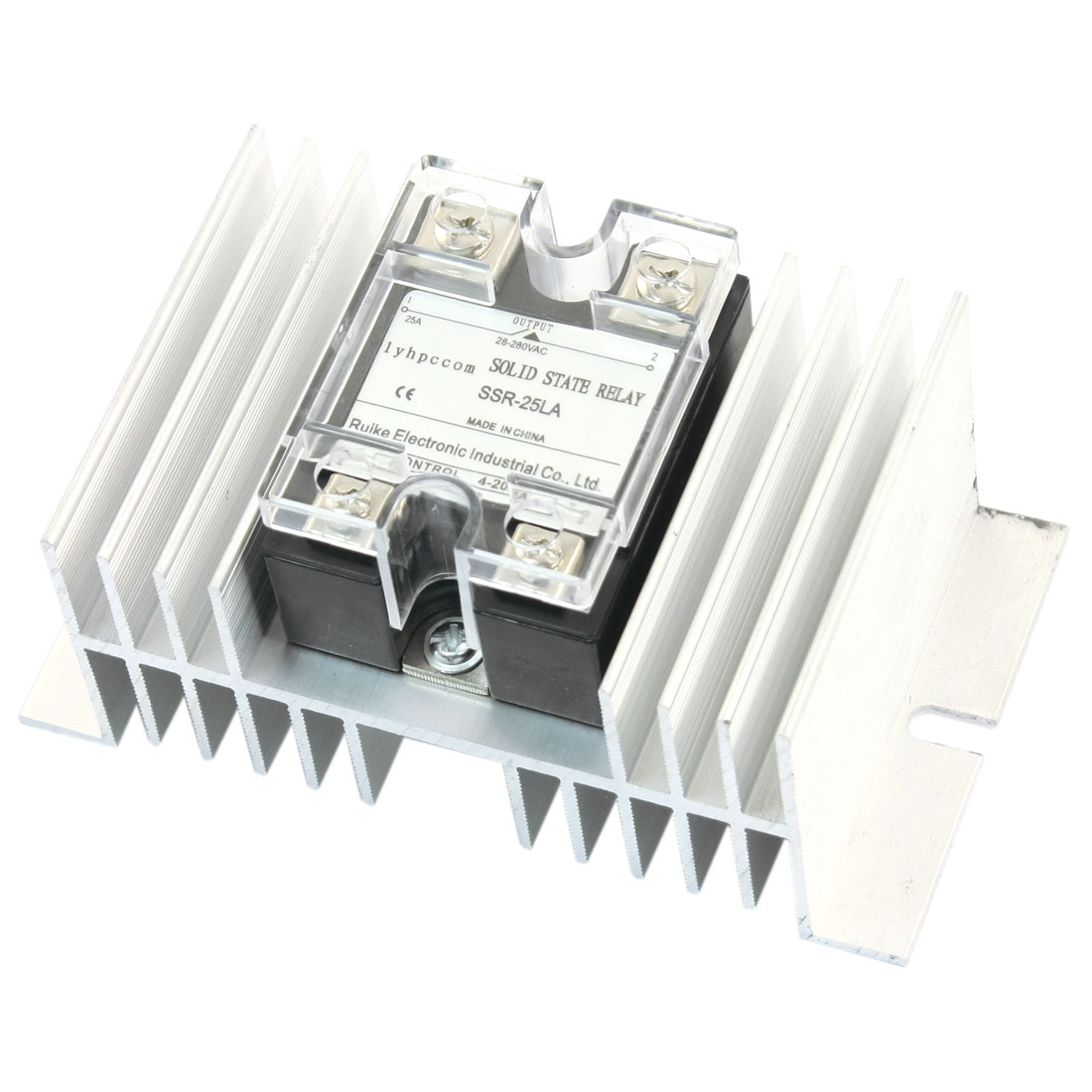 SSR-25LA 4-20mA to AC28-280V 25A Silver Tone Aluminum Heat Sink Single Phase SSR Solid State Relay