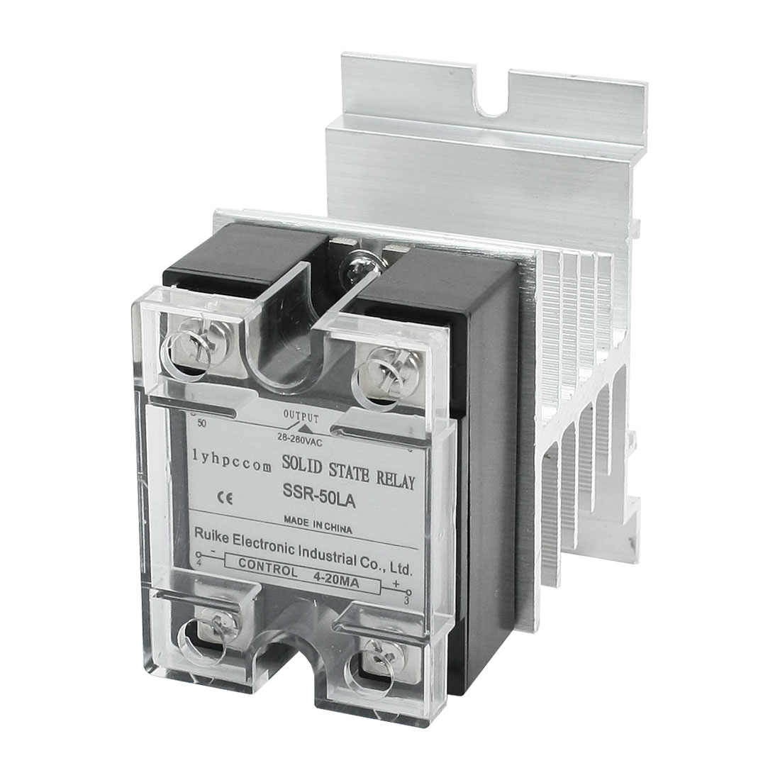 4-20mA Input AC28-280V 50A Output 4 Screw Terminal Single Phase Clear Cover Solid State Relay w Aluminum Heat Sink