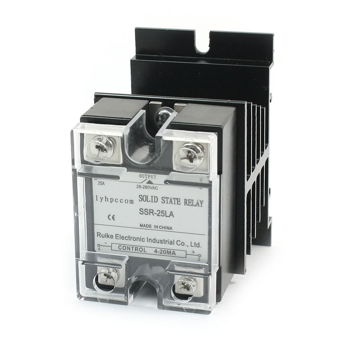 SSR-25LA 4-20mA to AC 28-280V 25A 4 Screw Terminal One Phase Aluminum Heat Sink SSR Solid State Relay