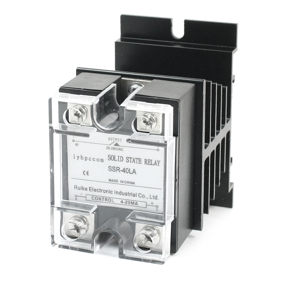 SSR-40LA 4-20mA to AC28-280V 40A 4 Screw Terminal Single Phase Clear Cover Black Aluminum Heatsink Solid State Relay