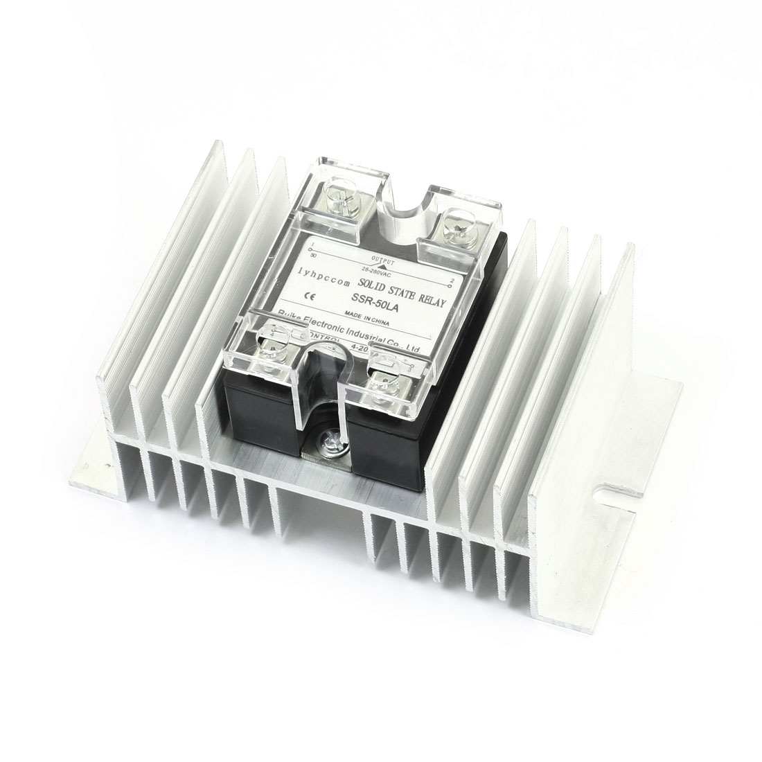 SSR-50LA 4-20mA to AC28-280V 50A Single Phase Silver Tone Aluminum Heatsink SSR Solid State Relay