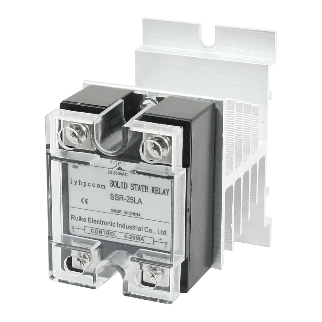 SSR-25LA 4-20mA to AC 28-280V 25A 4 Screw Terminal Single Phase Clear Cover Solid State Relay w Aluminum Heat Sink
