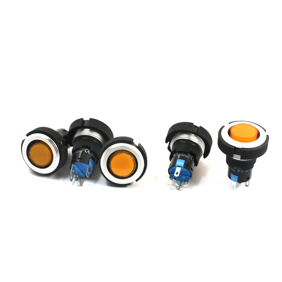 220V 22mm Thread Panel Mount SPDT 5Pin Momentary Control Orange Pilot Lamp Push Button Switch 5Pcs