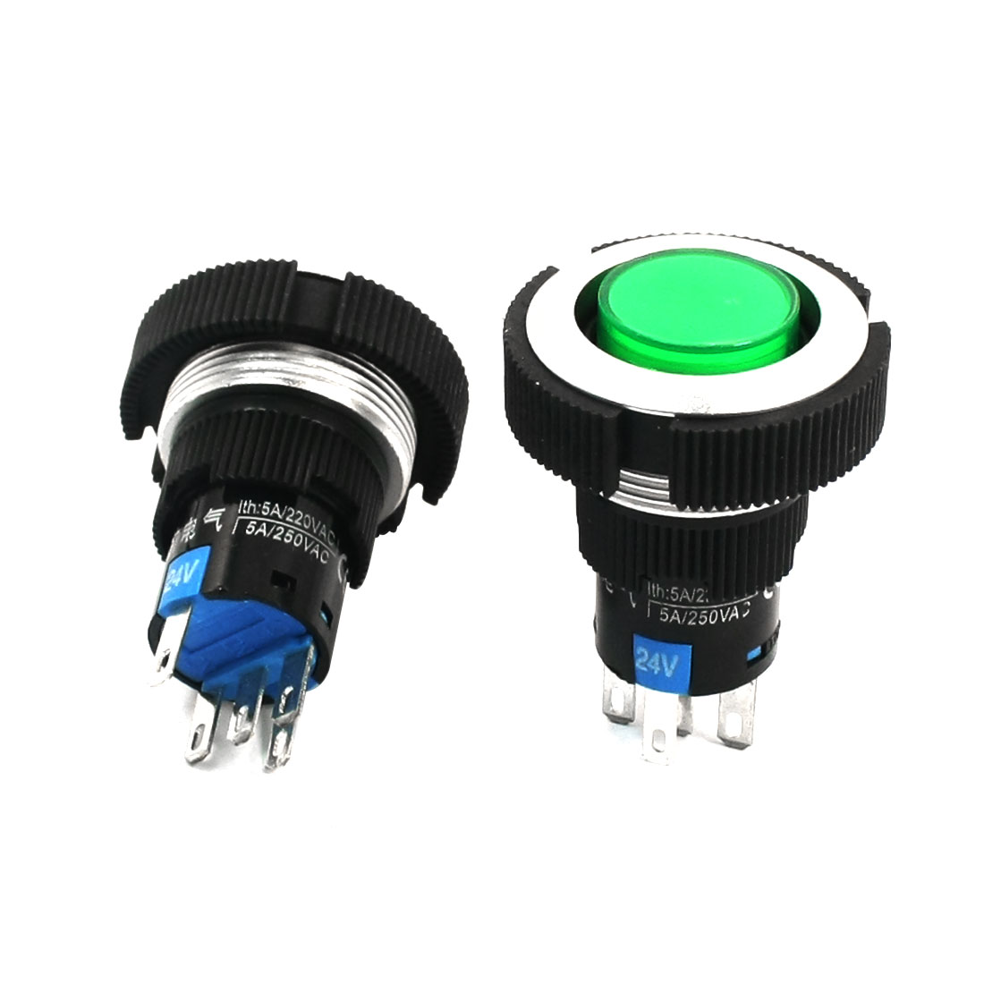 2Pcs AC 220V 5A 22mm Dia Thread Panel Mounting SPDT 1NO 1NC 5Pin Soldering Self-Locking Green Lamp Push Button Switch