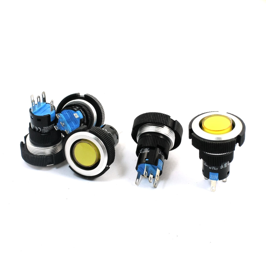 5Pcs 220V 22mm Thread Panel Mount SPDT 5Pin 1NO 1NC Soldering Locking Yellow Lamp Push Button Switch