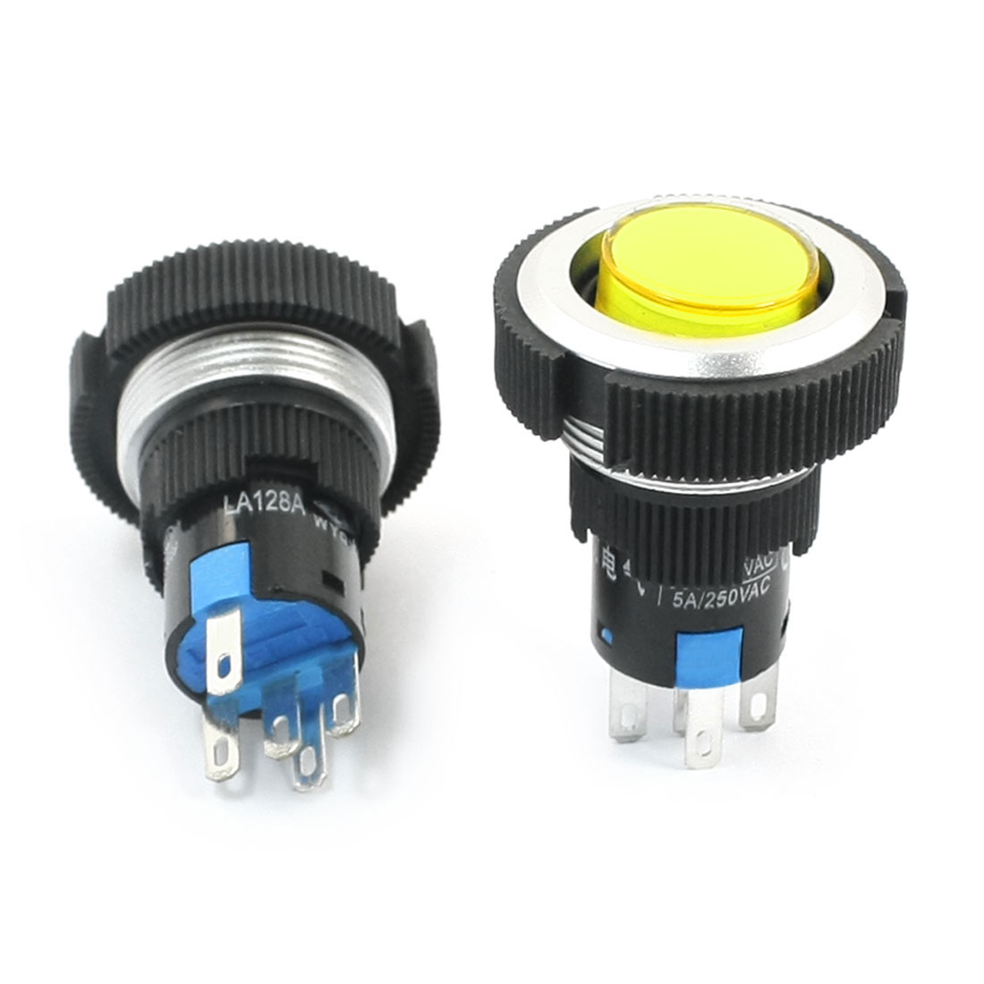 AC 220V 5A 22mm Thread Panel Mount SPDT 5-Pin 1NO 1NC Momentary Control Yellow Pilot Lamp Push Button Switch 2 Pcs