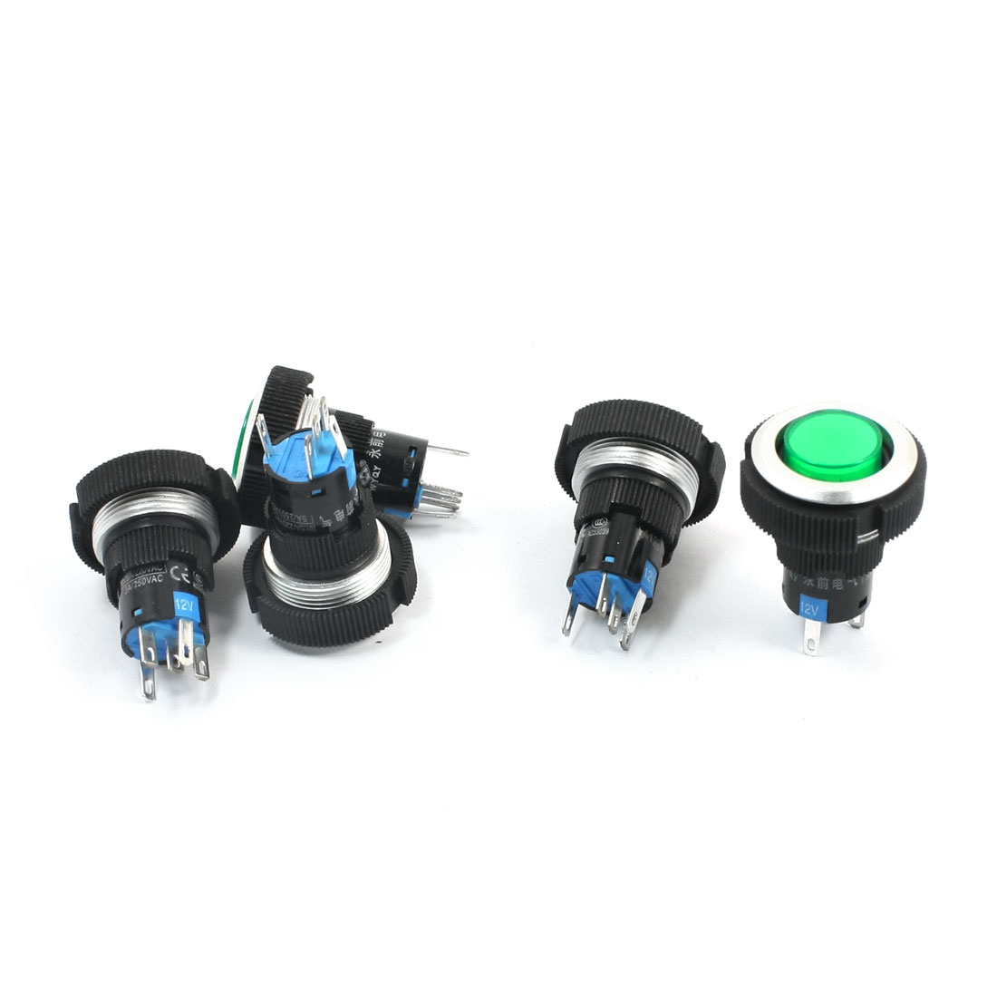 5 Pcs 12V 22mm Thread Panel Mounting SPDT 1NO 1NC 5Pin Soldering Momentary Green Pilot Lamp Car Push Button Switch