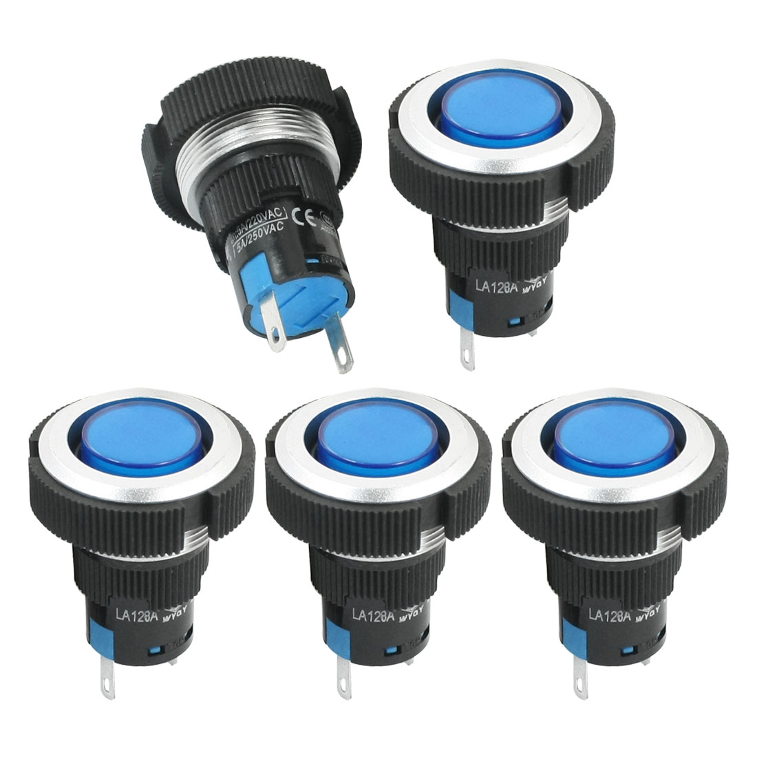 5Pcs DC 24V 22mm Dia Thread Panel Mounting Plastic Signal Indicator Light Pilot Lamp Bulb Blue