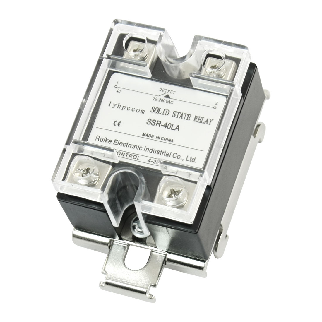 SSR-40LA 4-20mA to AC28-280V 40A Single Phase 4 Terminal Screw Clear Cover SSR Solid State Relay w 35mm DIN Rail Mount Bracket