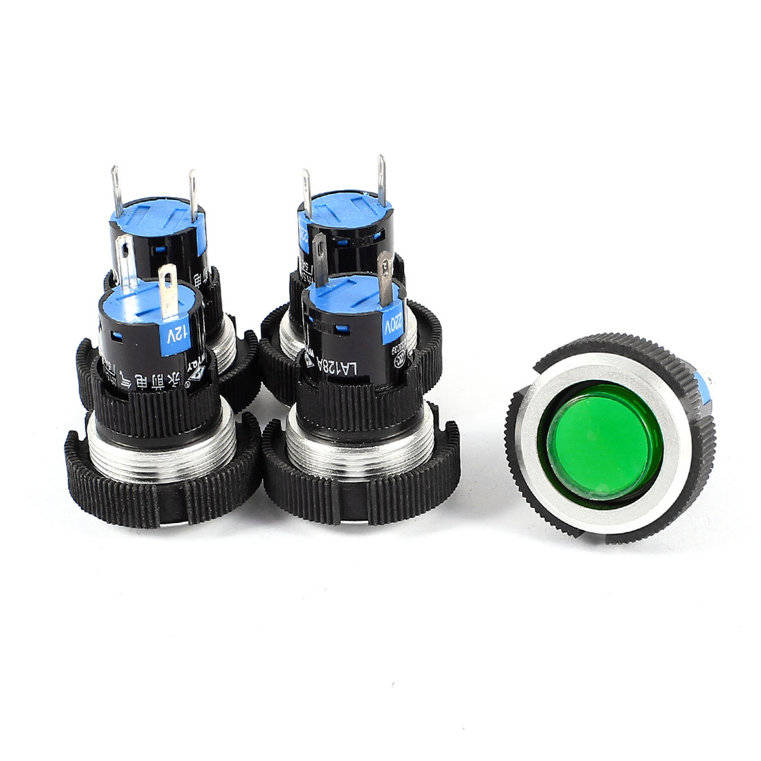 5 Pcs AC 220V 22mm Dia Thread Panel Mounting 2 Terminals Green Lamp Bulb Signal Indicator Light