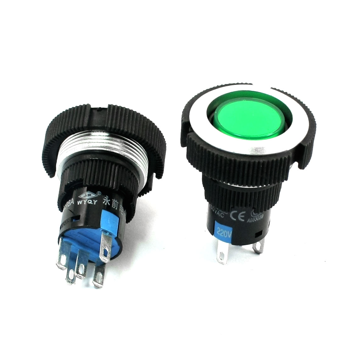 2Pcs 220V 22mm Dia Thread Panel Mounting SPDT 5-Pin Soldering Self-Locking Green Pilot Lamp Push Button Switch