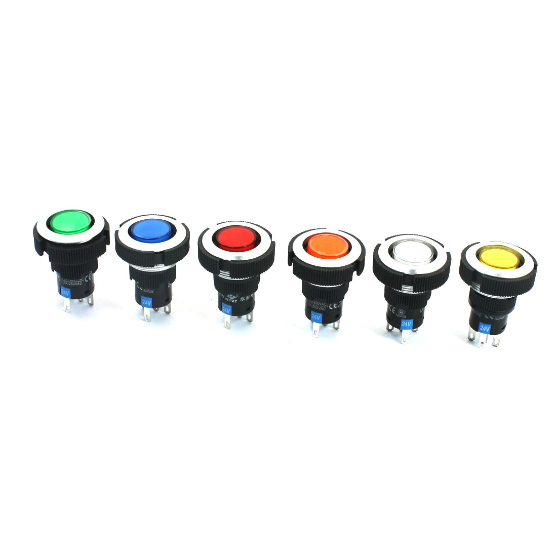 6Pcs 24V 22mm Thread Panel Mounting SPDT 1NO 1NC 5Pin Locking 6-Color Light Push Button Switch