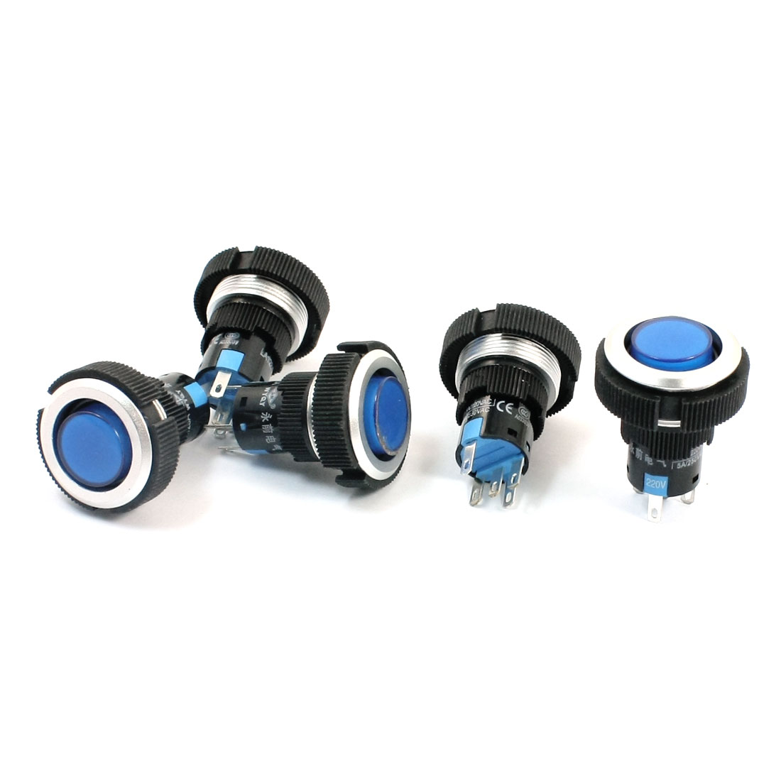 AC220V 22mm Dia Thread Panel Mount Blue Pilot Lamp SPDT 1NO 1NC Latching Plastic Push Button Switch 5Pcs