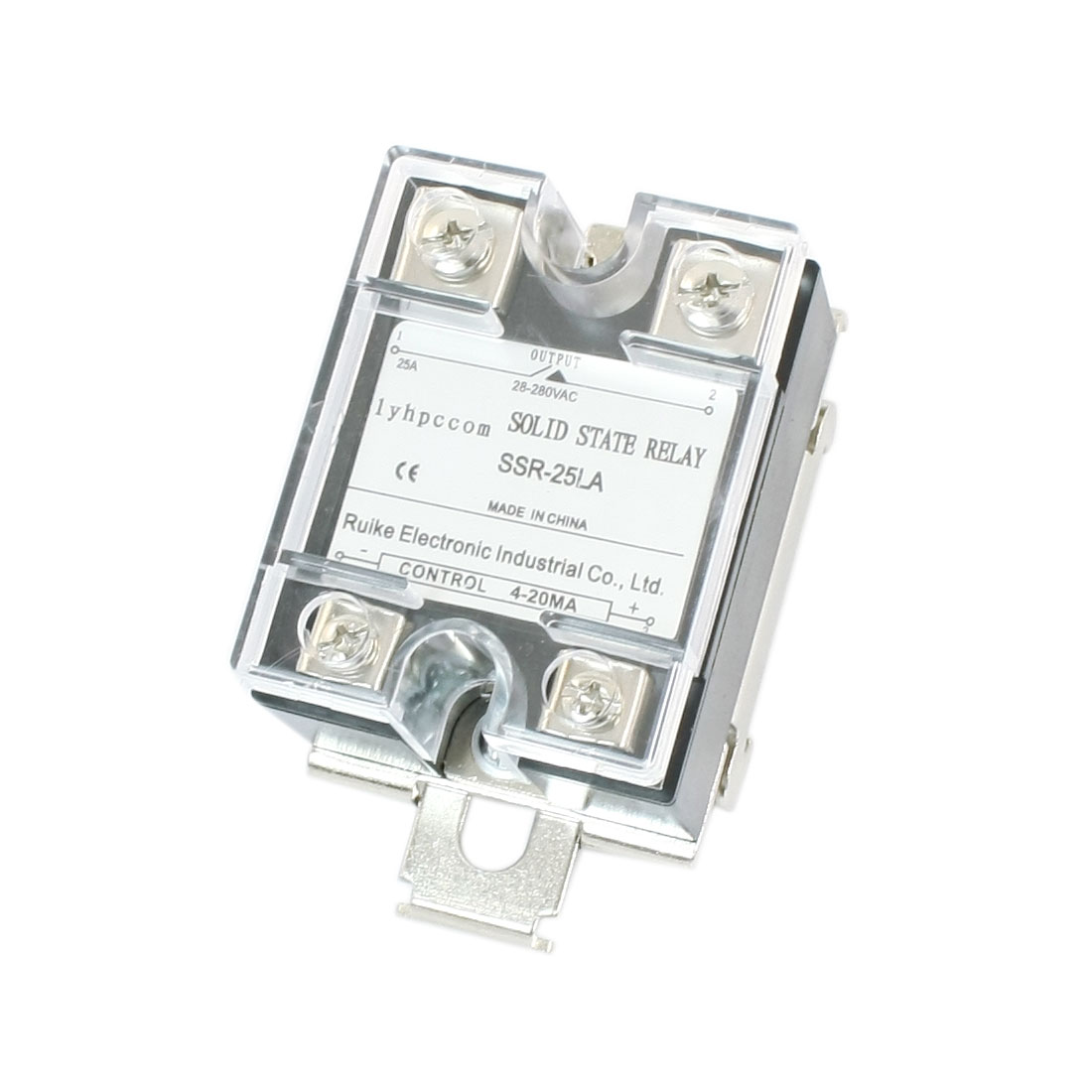 4-20mA Input AC 28-280V 25A Output 4 Terminal Screw Single Phase 35mm DIN Rail Socket SSR Solid State Relay w Clear Cover