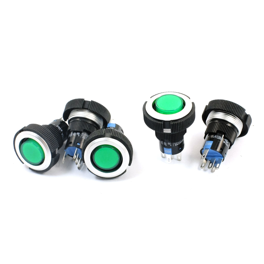 AC220V 22mm Dia Thread Panel Mount Green Pilot Lamp SPDT 1NO 1NC Latching Plastic Push Button Switch 5Pcs