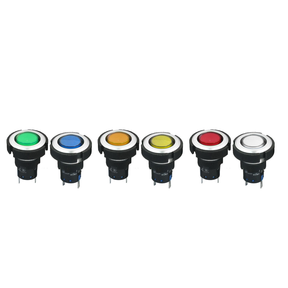 6Pcs DC 12V 22mm Dia Thread Panel Mounting Plastic 6-Color Signal Indicator Light Pilot Lamp Bulb